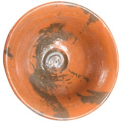 "Japanese Fine Raku ""Black & Terracotta"" Tea Bowl, Hand-Built and Hand Glazed"