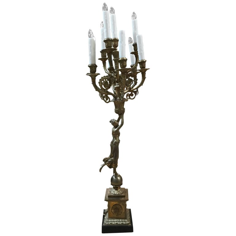 All-Bronze Grecian Woman Candelabra For Sale