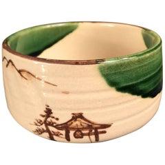 "Japanese Fine Oribe ""Mountains & Pagoda"" Tea Bowl, Hand-Built & Hand Glazed"