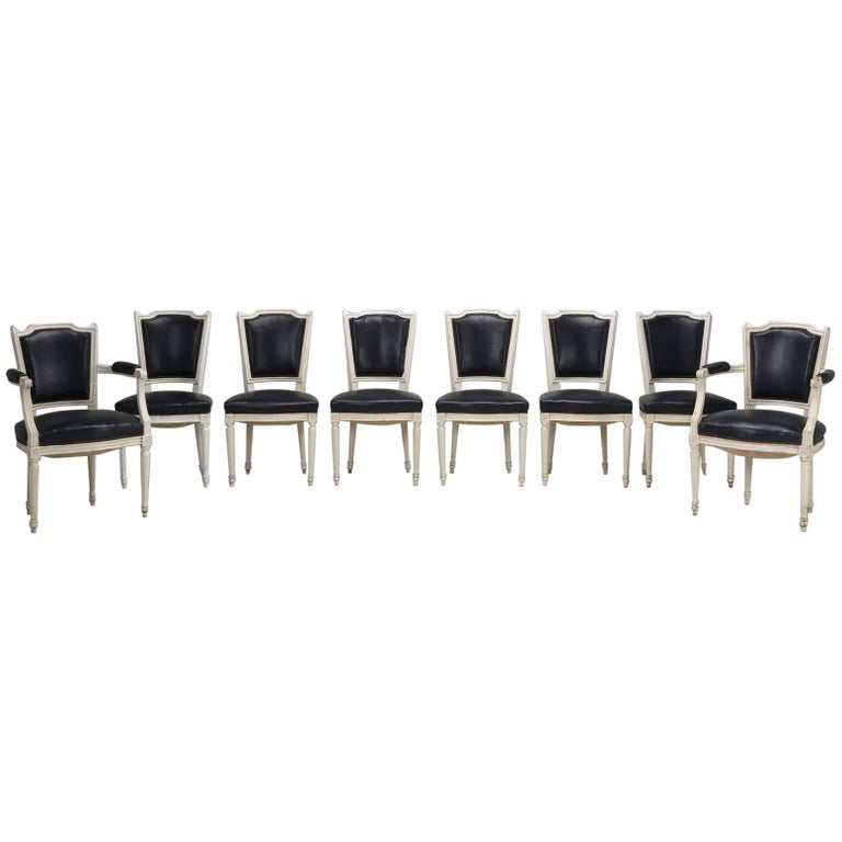 Set of Eight Louis XVI Style French Dining Chairs For Sale