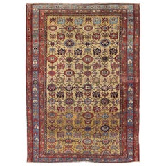 Floral Antique Persian Malayer Rug in Yellow, Red, Blue, Green