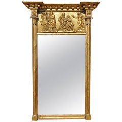 American Federal Console Mirror 19th Century Gilt Gesso