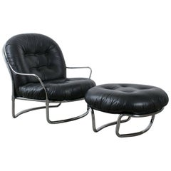 Carlo di Carli Black Leather Lounge Chair and Ottoman, Italy, 1960s