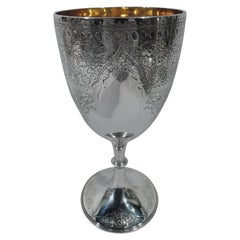 Antique English Aesthetic Sterling Silver Goblet