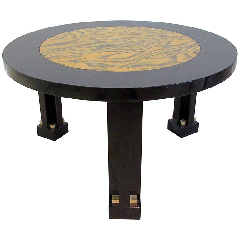 Rare Italian Black Lacquer and Faux Bois Side Table, 1980s, Ettore Sottsass