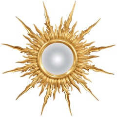 Large Mid-20th Century French Carved Sunburst Mirror with Gilt Finish