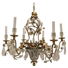 Beautiful French Gold Gilt Bagues Rock Crystal Leaf Basket Chandelier Fixture