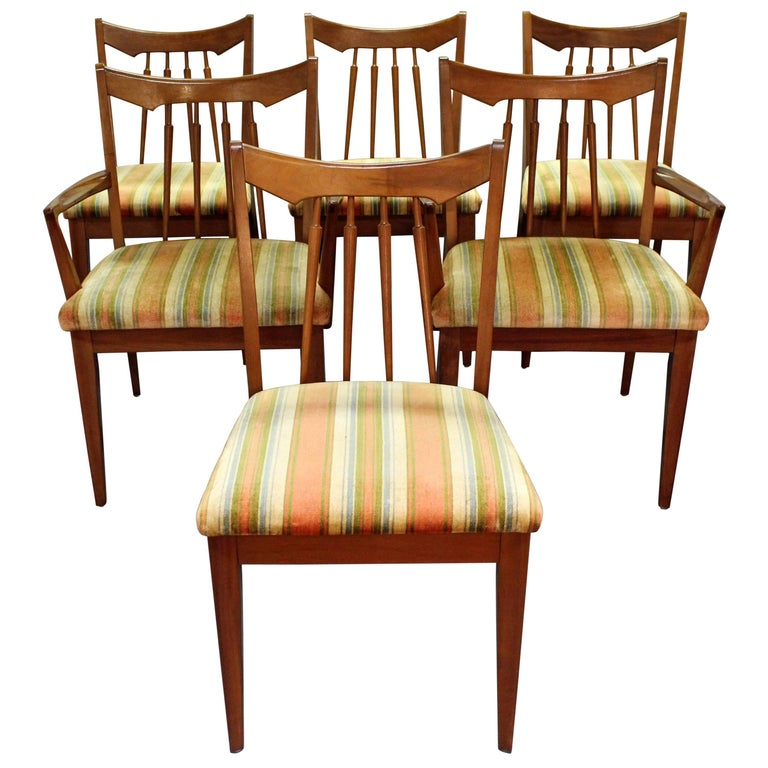Set of Six Midcentury Danish Modern Spindle Back Walnut Dining Chairs