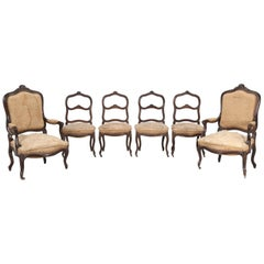 Set of Six Carved French Antique Living Room or Parlor Chairs