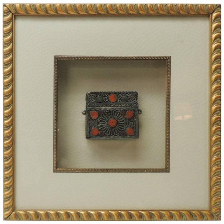 Vintage Indian Metal Purse Mounted on Shadow Box with Wood Frame