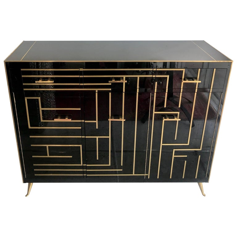 Italian Glass and Brass Sideboard