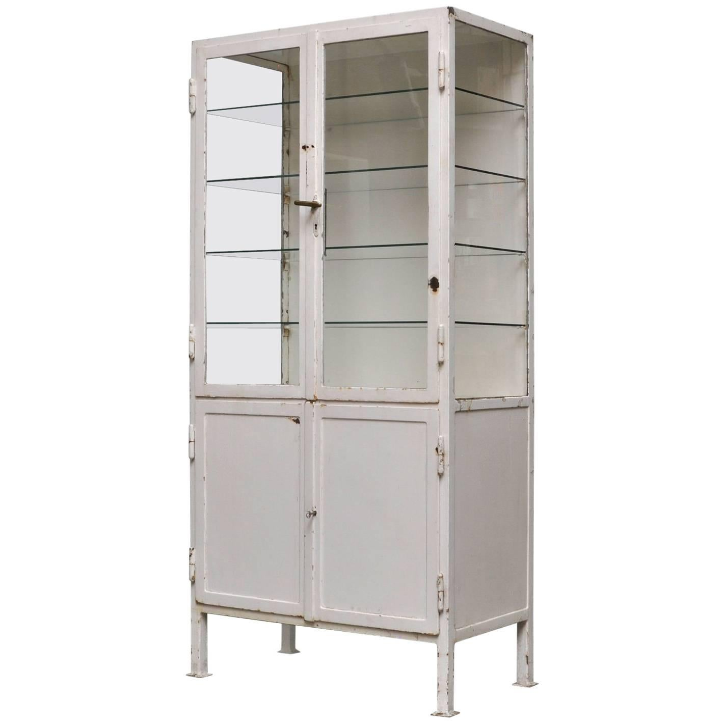 Vintage Industrial Steel And Glass Cabinet 1930s For Sale Glass Cabinet For Sale E76