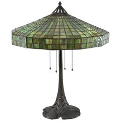 Signed Handel Leaded Glass Lamp with Peacock Base Shade