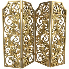 American Art Deco Four-Panel Gilded Metal and Composite Room Divider