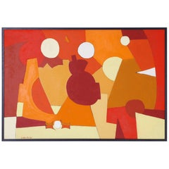 Midcentury Abstract Painting on Canvas by Arnold Weber