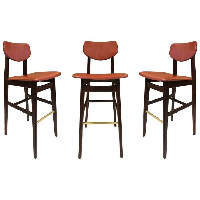 Three Jens Risom Bar Stools