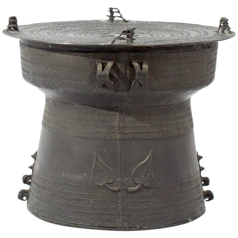 Vintage Asian Bronze Rain Drum Accent Table For Sale