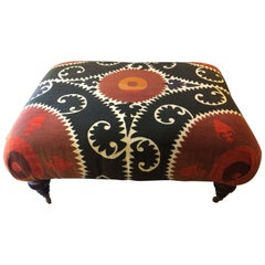 Striking Graphic Ottoman Upholstered in Vintage Suzani Wedding Cloth