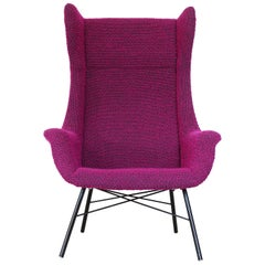 Wingback Armchair by Miroslav Navratil, 1960s, Original Purple Upholstery