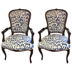 Pair of Schnazzy Armchairs Upholstered in Schumacher Blue & White Animal Print