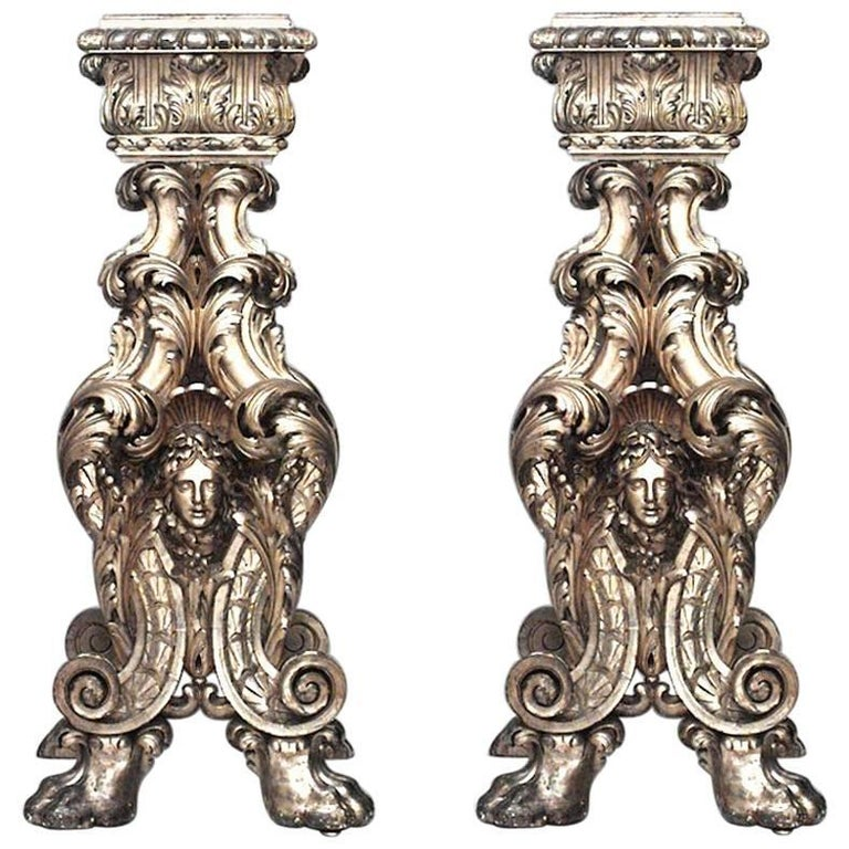 Pair of Italian Baroque Style 'Roman, 19th Century' Giltwood Pedestals