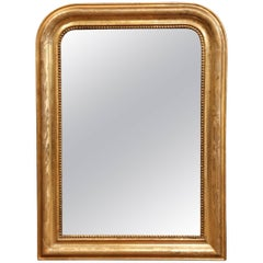 19th Century French Louis Philippe Gold Leaf Mirror with Engraved Flower Design