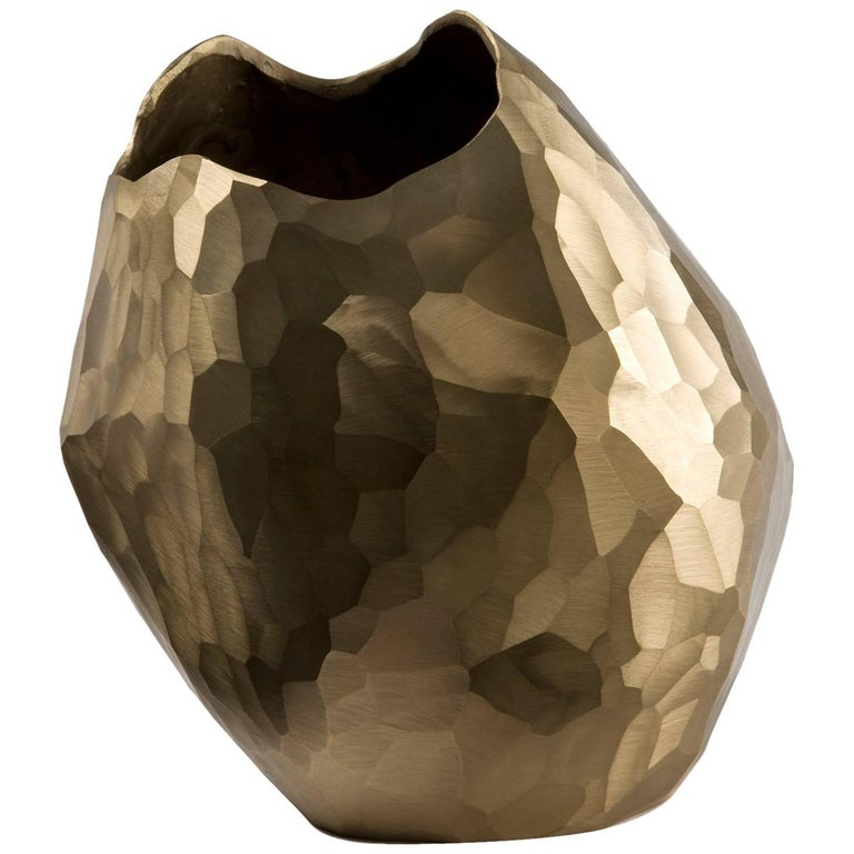 Unique Small Bronze Facet Vase