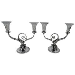 Pair of La Paglia-Style Sterling Silver Two-Light Candelabra