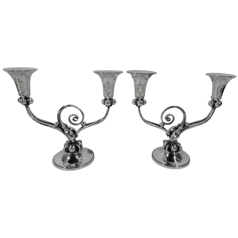 Pair of La Paglia-Style Sterling Silver Two-Light Candelabra For Sale