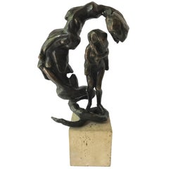 Temptation of Eve Bronze Signed Frederick Weinberg Sculpture Serpent