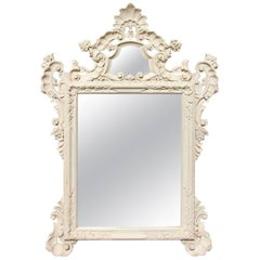 Carved and Painted Louis XV Style Console Mirror