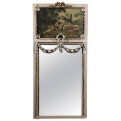 19th Century French Romantic Louis XVI Painted Trumeau Mirror