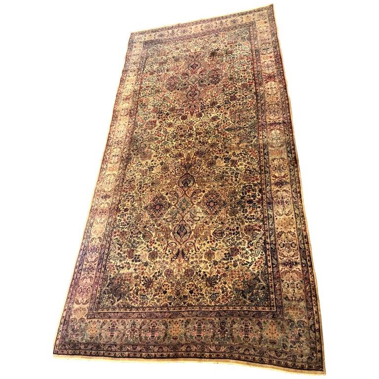 Fine Antique circa 1920s Kirman Persian Oriental Carpet with Vibrant Colors