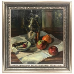 Gil DiCicco Signed Still Life Oil Painting Titled Still Life with Tangerine