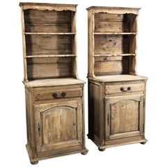 Pair of Antique Rustic Country French Stripped Confiturier Vaisseliers