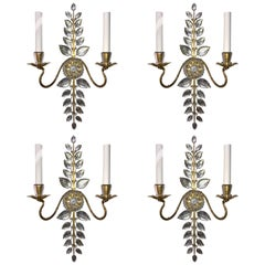 Mid Century Modern Set 4 Four Bagues French Leaf Flower Beaded Crystal Sconces