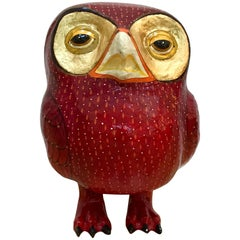 Rare Sergio Bustamante Paper Mache Vibrant Red and Gold Owl, 1980s, Mexico