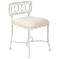 White Metal Loop Back Vanity Chair