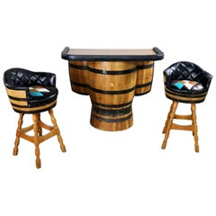 Midcentury Whiskey Barrel Bar and Swivel Bar Stools by Brothers of Kentucky