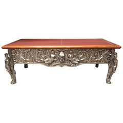 Unusual Large All Bronze Rectangular Center Table with Leather Top