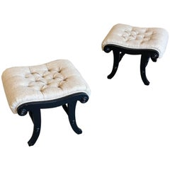 Pair of Ebonized Tufted Ottomans