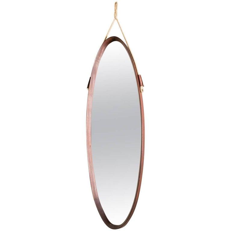 Midcentury Italian Teak Oval Mirror, 1950
