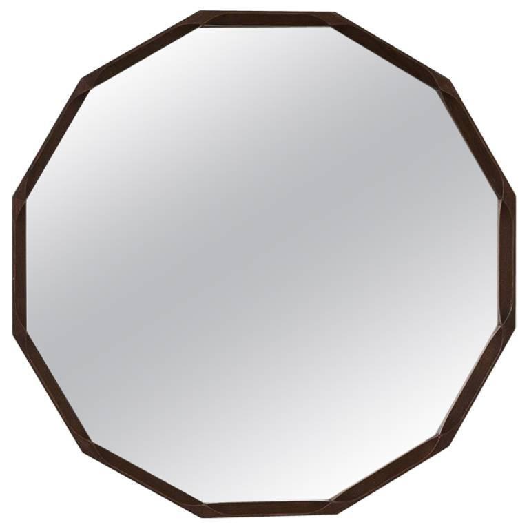 Midcentury Round Teak Mirror, Italy, circa 1950