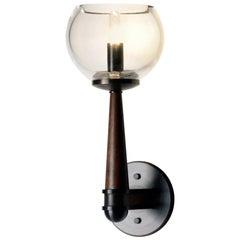 Wall Light in Brass, Wood and Hand-Blown Glass by Matthew Fairbank