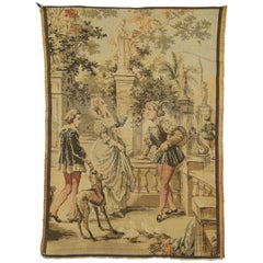 Vintage Belgian Venetian Renaissance Canal Scene Tapestry with Rococo Style
