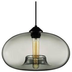 Aurora Gray Handblown Modern Glass Pendant Light, Made in the USA