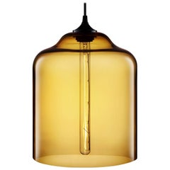 Bell Jar Amber Handblown Modern Glass Pendant Light, Made in the USA
