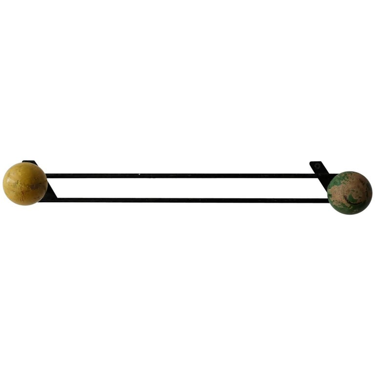 Midcentury Wall Mount Coat or Hat Rack, France, 1950s