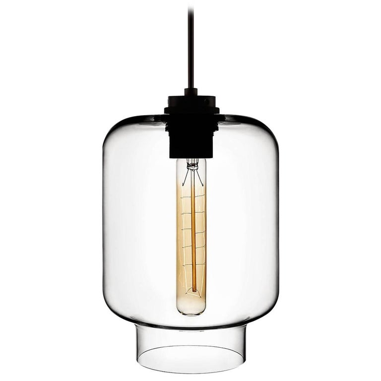 Calla Crystal Handblown Modern Glass Pendant Light, Made in the USA