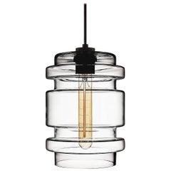 Delinea Crystal Handblown Modern Glass Pendant Light, Made in the USA